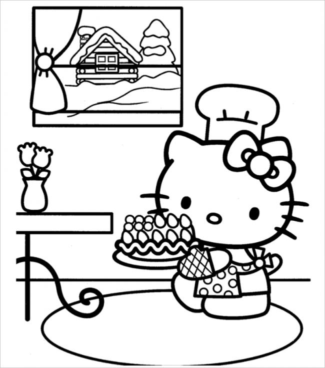 Mẫu tranh tô màu cô thợ làm bánh Hello Kitty đang chuẩn bị tiệc cho bạn đẹp nhất