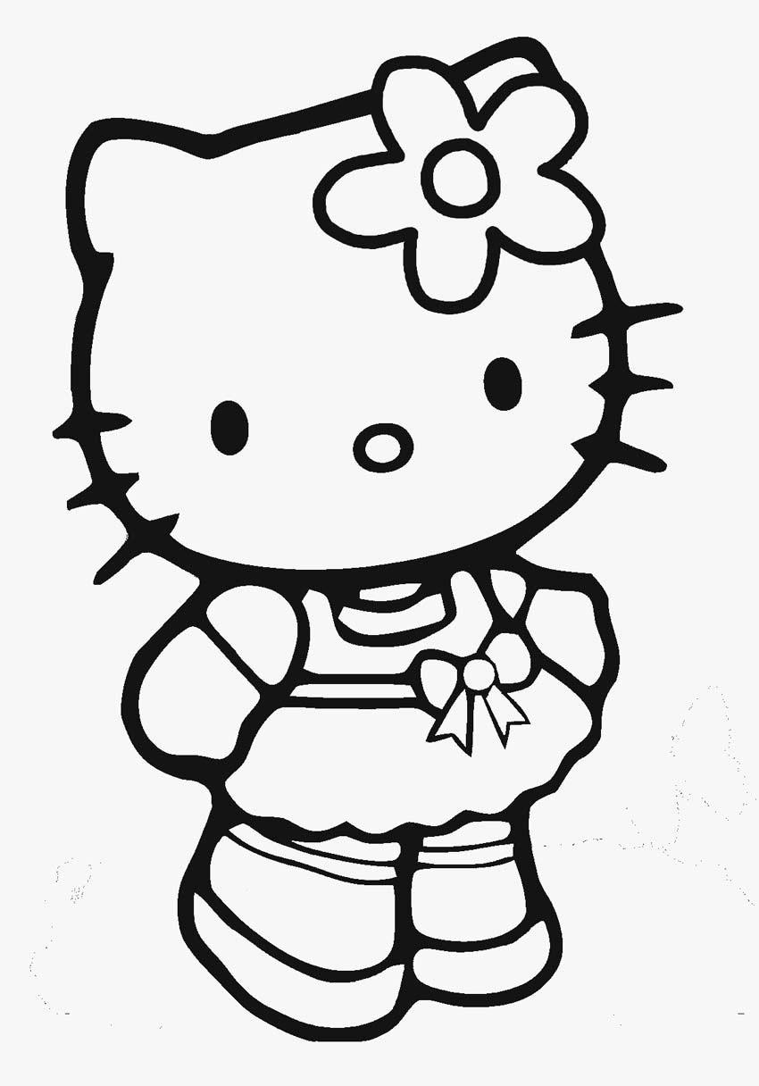 Mẫu tranh tô màu công chúa Hello Kitty