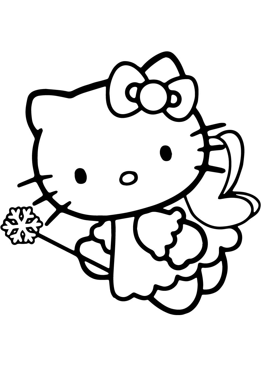 Mẫu tranh tô màu hello Kitty đáng yêu cho bé