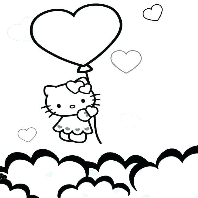 Mẫu tranh tô màu Hello Kitty dành cho bé