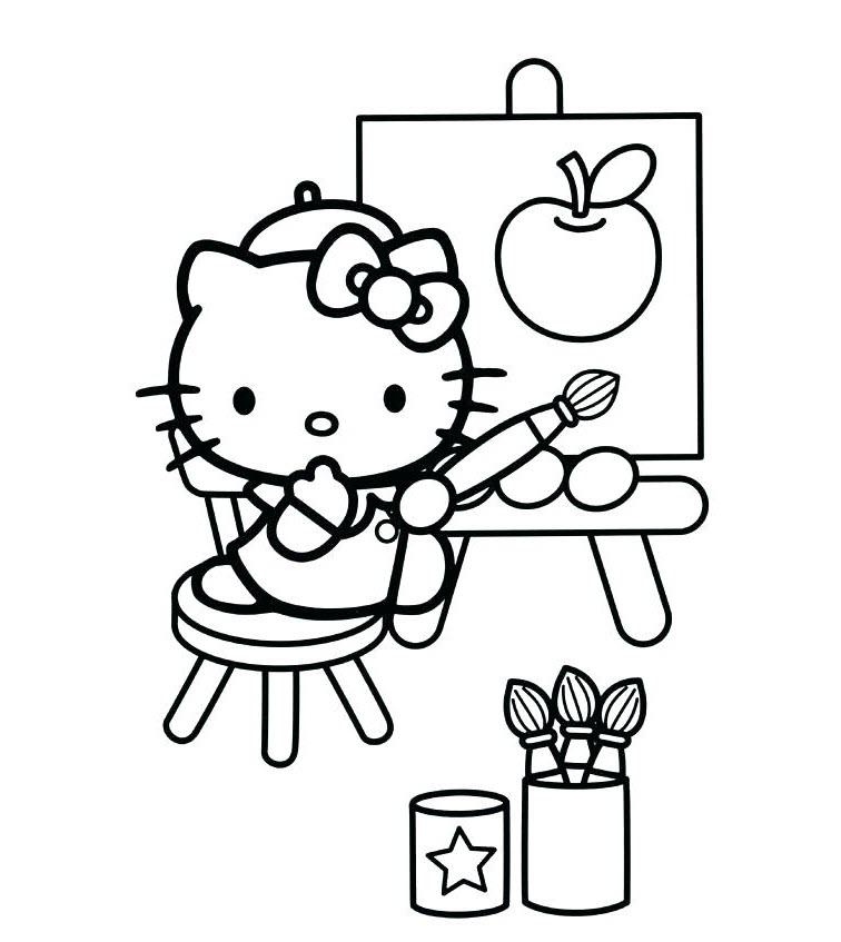 Mẫu tranh tô màu hello Kitty đẹp nhất cho bé tập tô