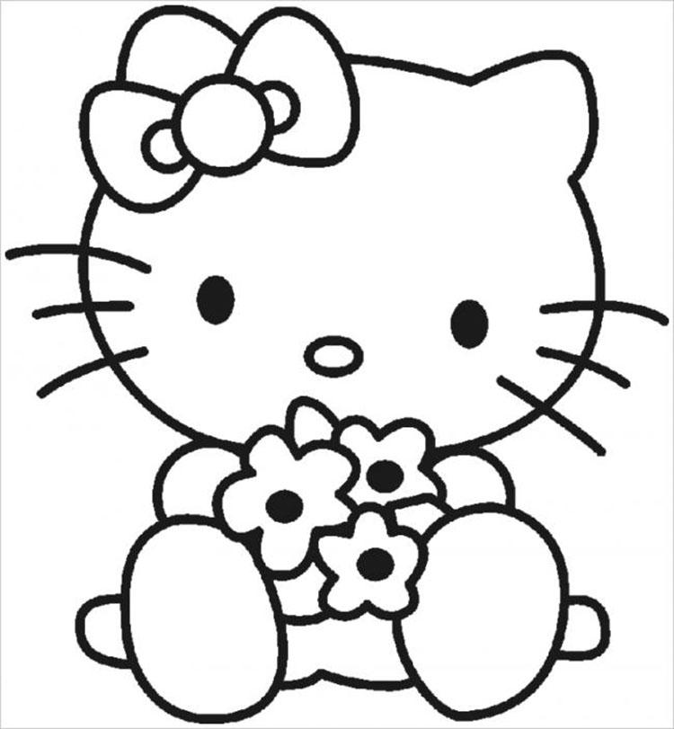 Mẫu tranh tô màu Hello kitty đẹp nhất
