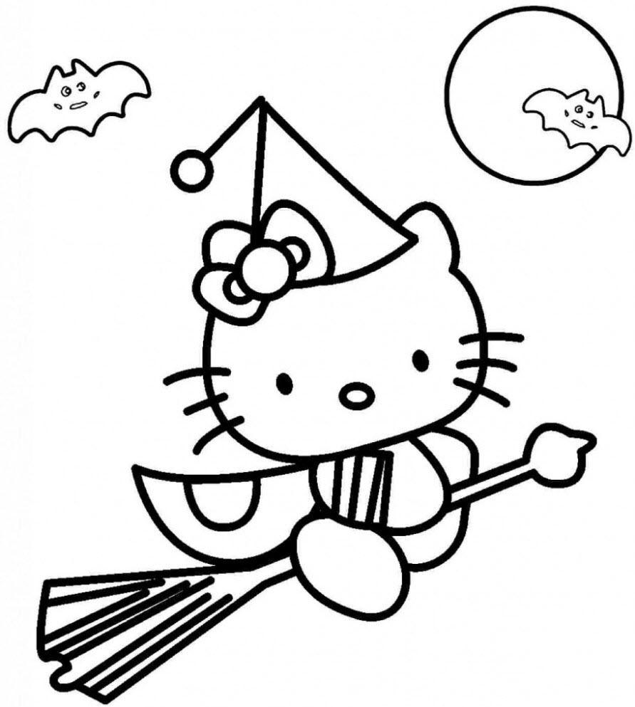 Mẫu tranh tô màu Hello Kitty đơn giản