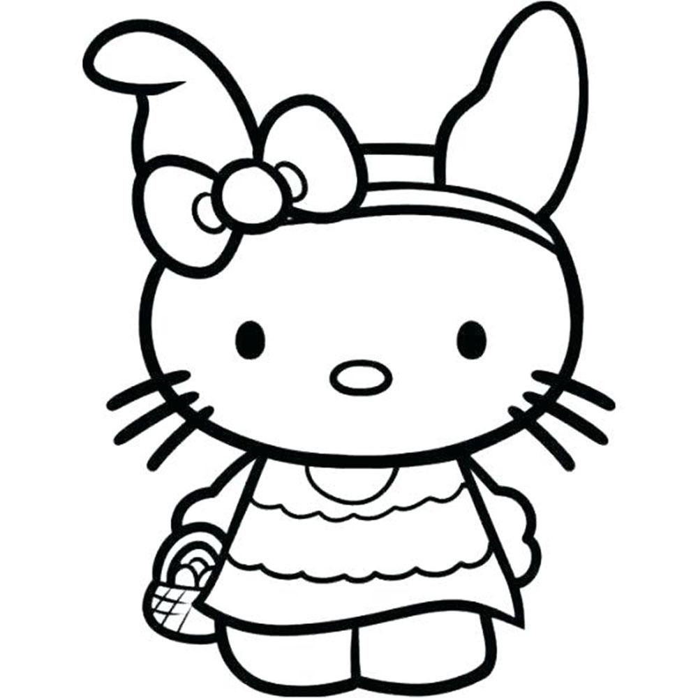 Mẫu tranh tô màu hello Kitty hình ảnh vẽ đẹp nhất