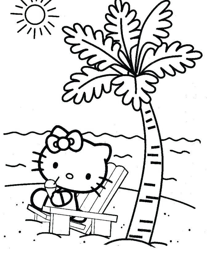 Mẫu tranh tô màu Hello Kitty trên bãi biển dành cho bé đẹp nhất