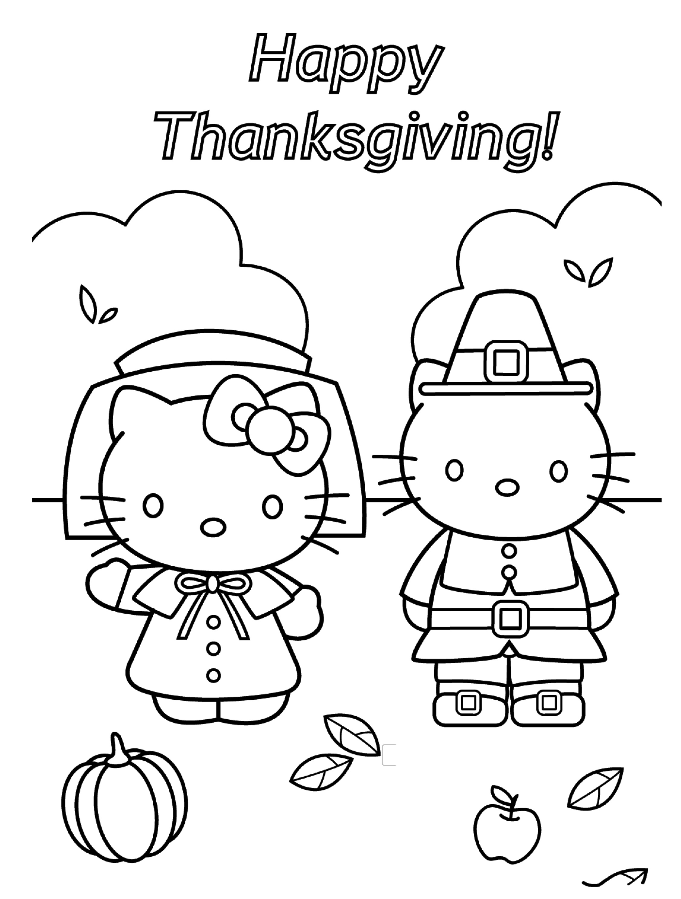 Mẫu tranh tô màu Hello Kitty trong lễ tạ ơn đẹp nhất