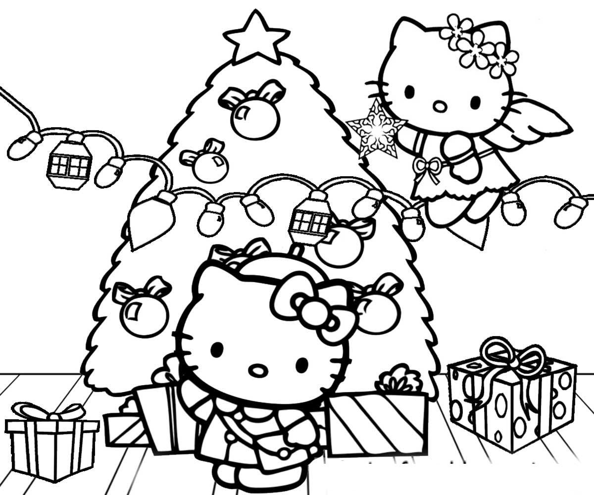 Mẫu tranh tô màu Hello Kitty