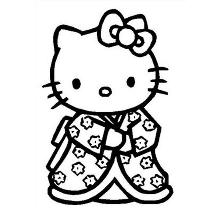 Mẫu tranh tô màu mèo Hello Kitty dễ thương và đẹp nhất cho bé