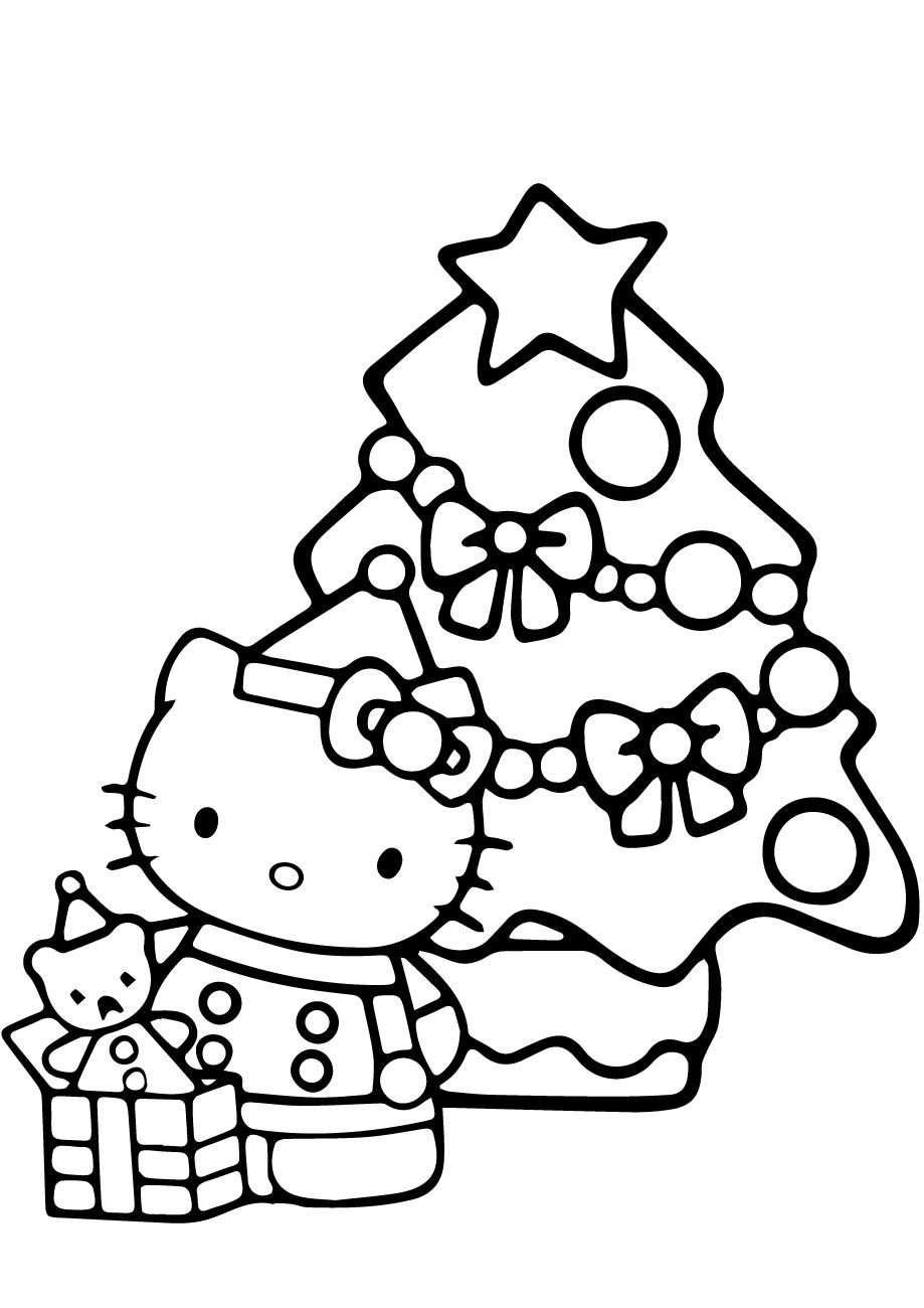 Mẫu tranh tô màu mèo Hello Kitty đẹp nhất