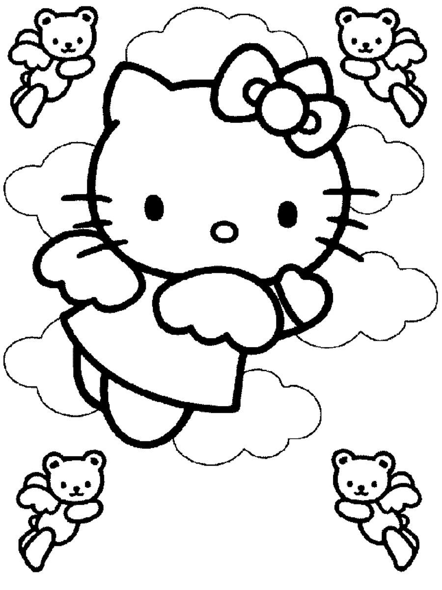 Mẫu tranh tô màu Mèo Hello Kitty siêu đẹp