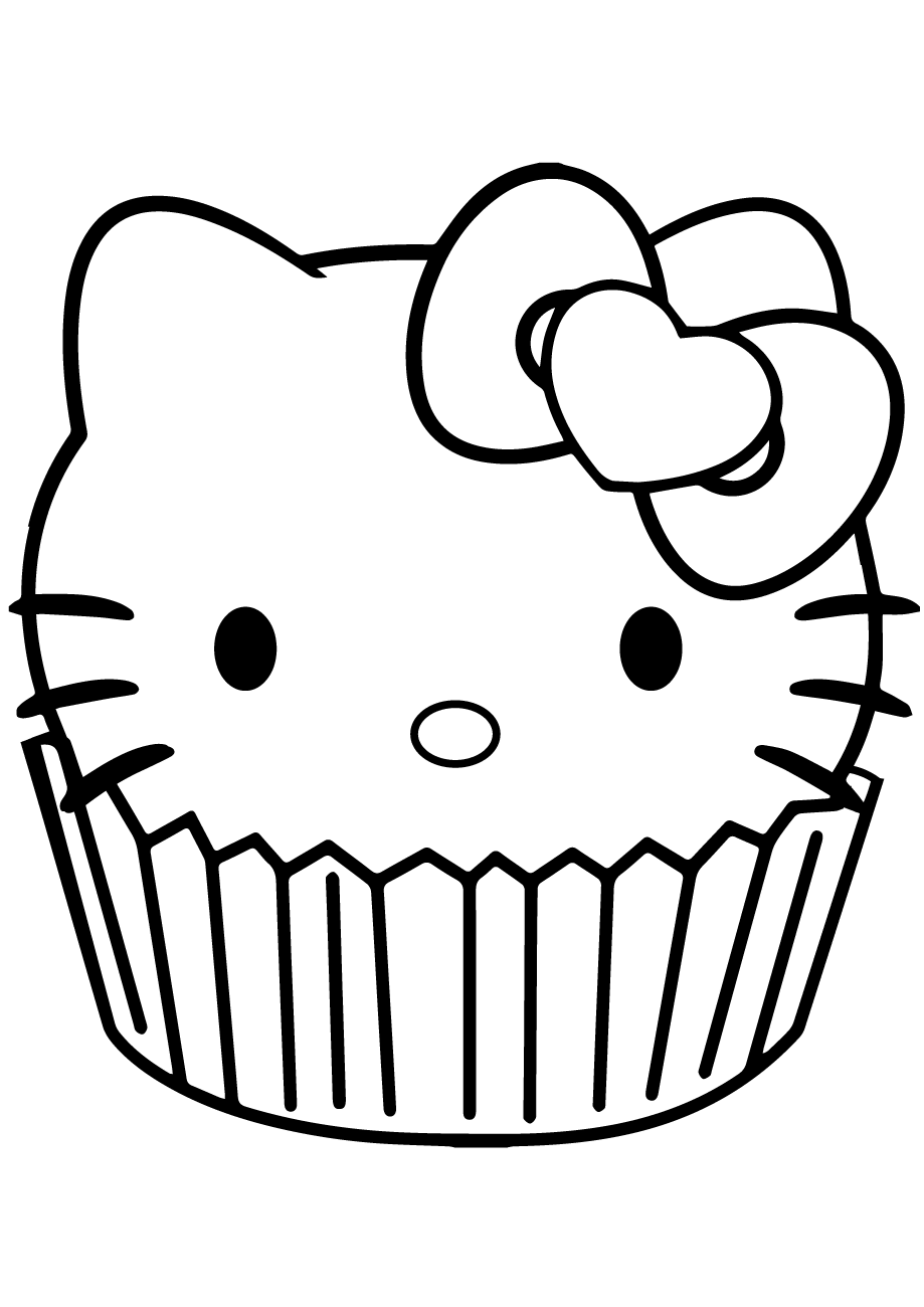 Mẫu tranh tô màu Mèo hello kitty
