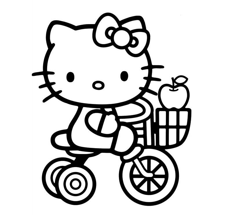 Mẫu tranh tô màu mèo Kitty đáng yêu nhất