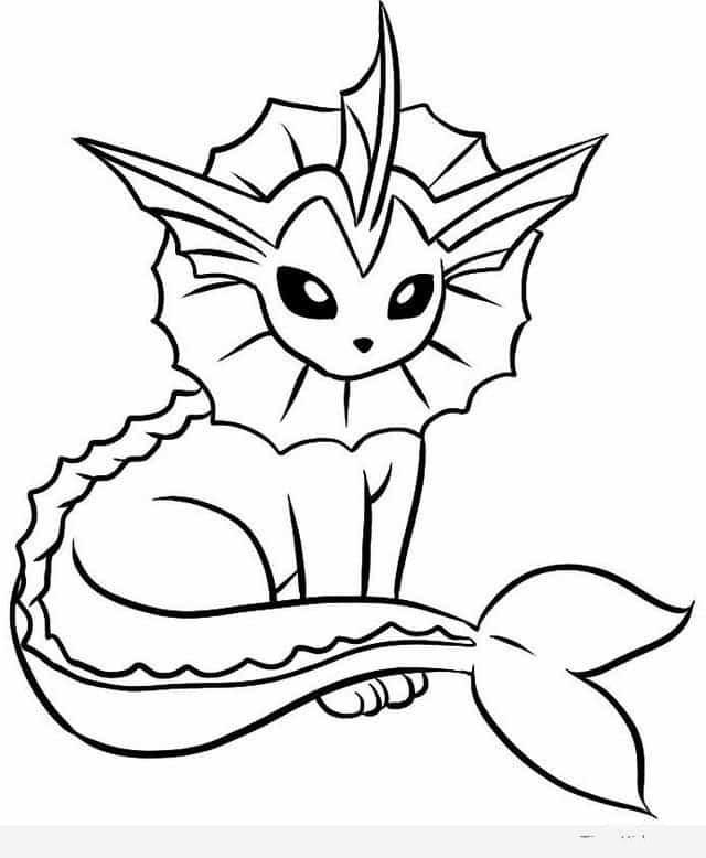 Mẫu tranh tô màu Pokemon  vaporeon