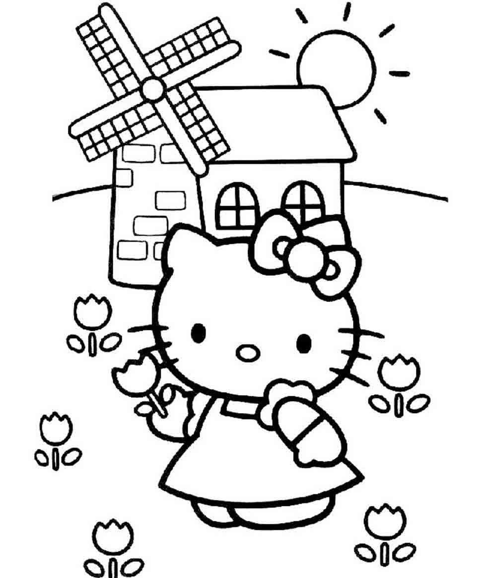 Mẫu tranh vẽ Hello Kitty đang trồng hoa trong nông trại ở Hà Lan đẹp nhất