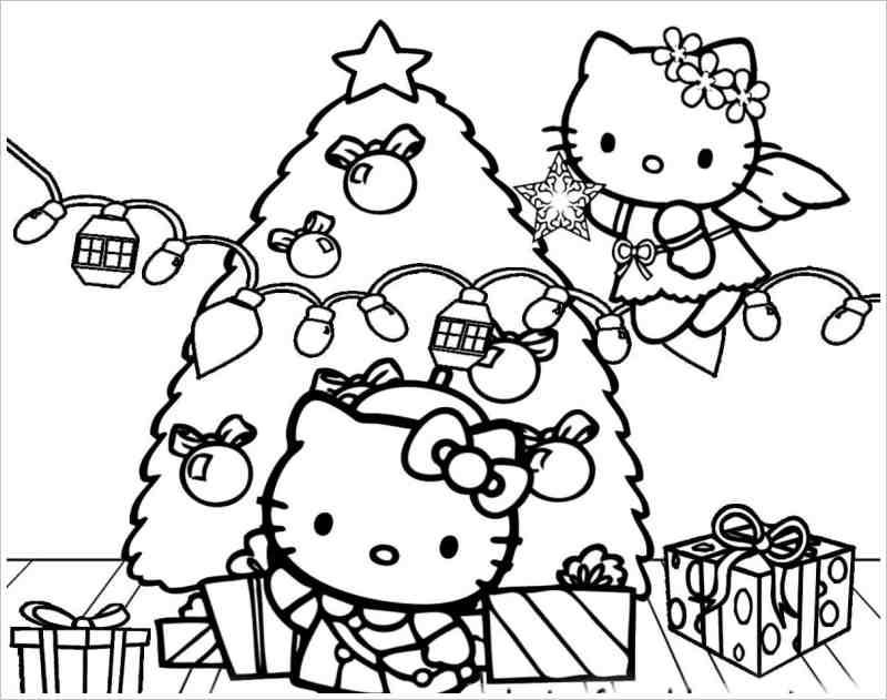 Những loại mẫu tranh tô màu Hello Kitty cho bé yêu đẹp