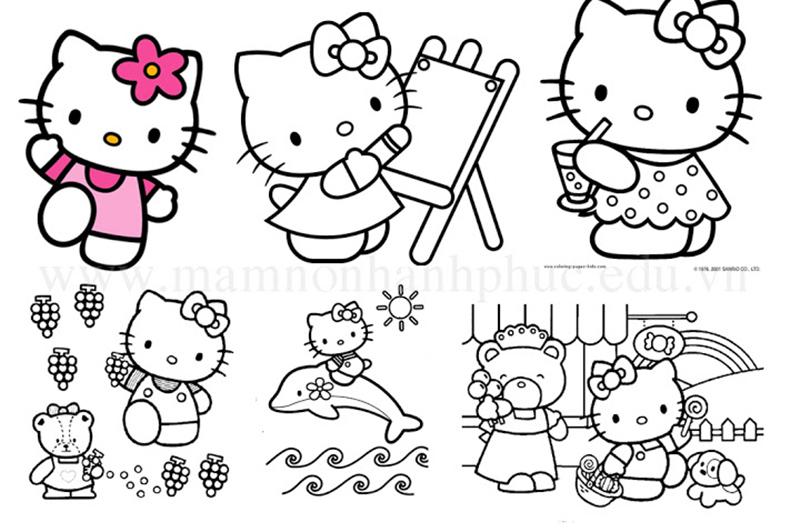 Những mẫu tranh tô màu Hello Kitty đơn giản đẹp nhất