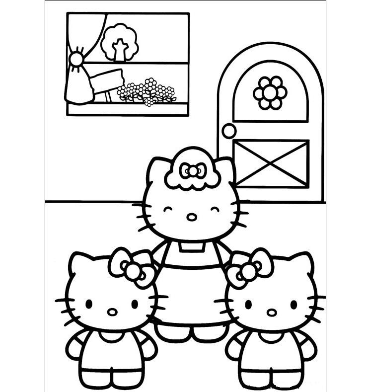 Những mẫu tranh tô màu mèo Hello Kitty đáng yêu nhất cho bé