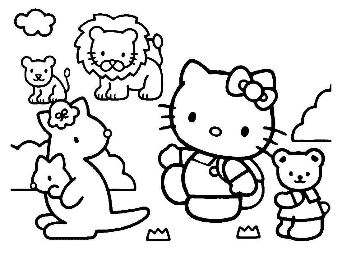 Tranh mẫu tô màu Hello kitty
