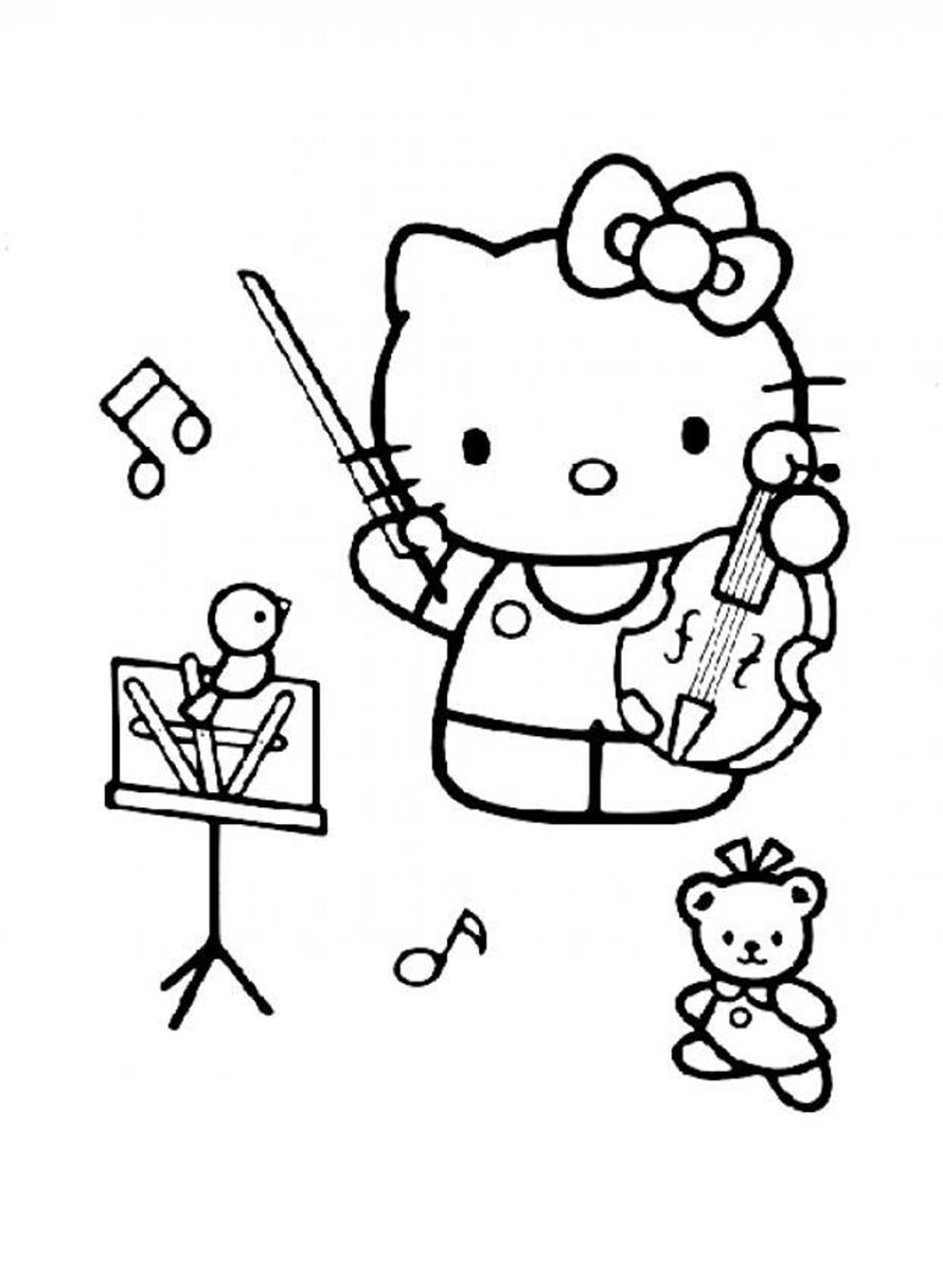 Tranh tập tô màu mèo Hello kitty đáng yêu cho bé