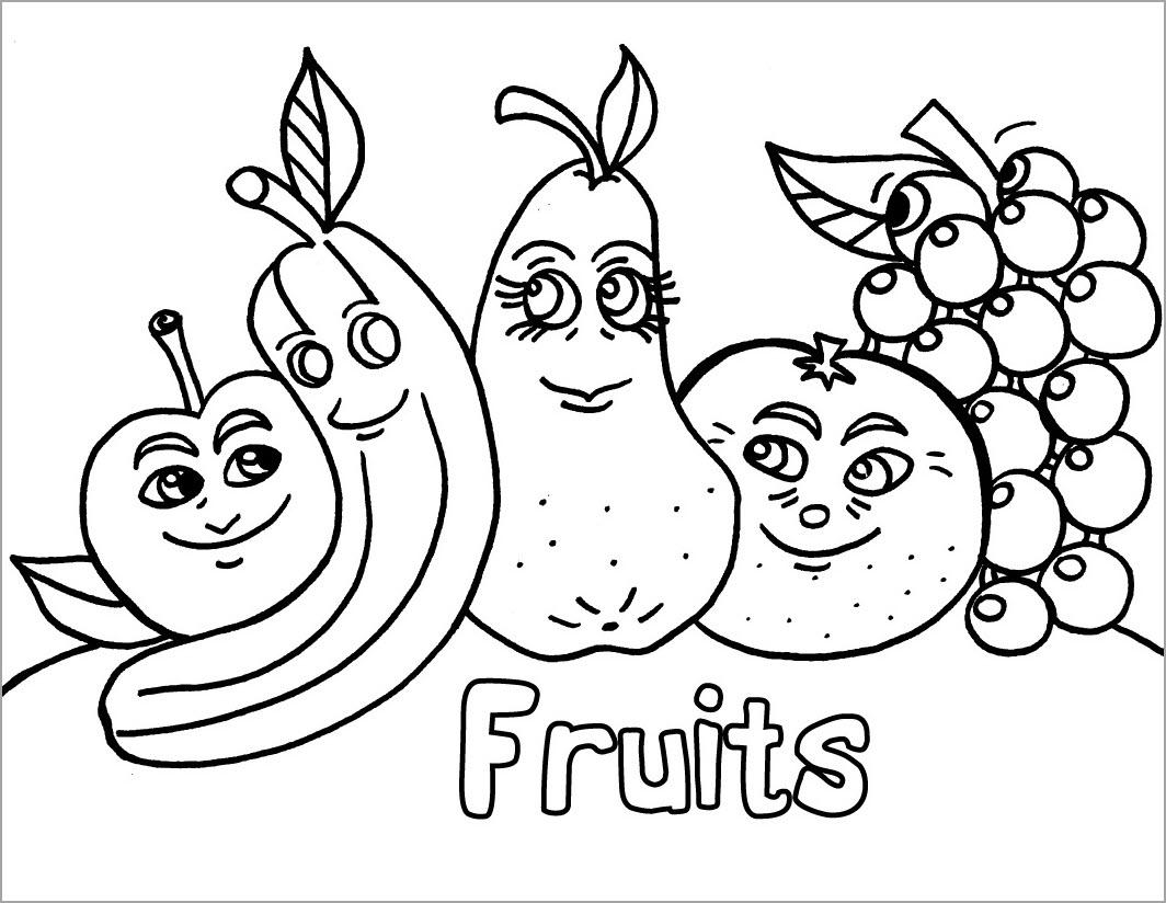 Tranh tô màu các loại trái cây hoa quả cho bé