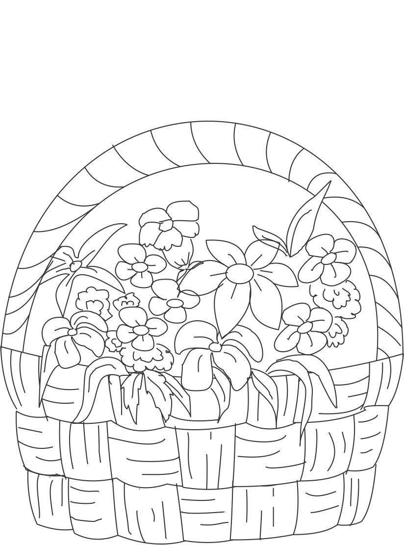 Tranh tô màu giỏ hoa đẹp cho bé tập tô