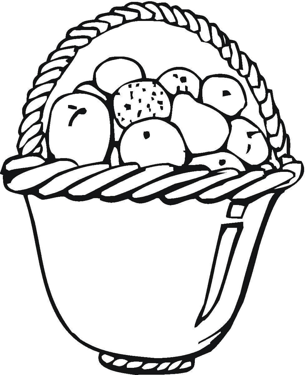 Tranh tô màu giỏ hoa quả trái cây
