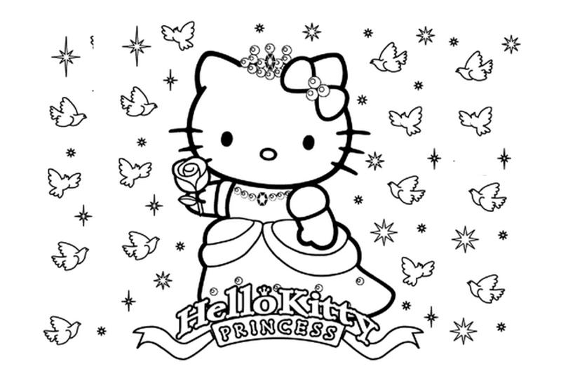 Tranh tô màu hello kitty mẫu vẽ đẹp cho bé
