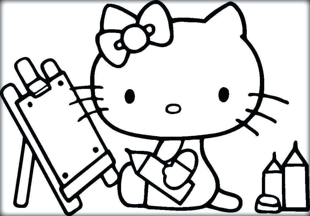 Tranh tô màu Hello Kitty mẫu vẽ đẹp nhất