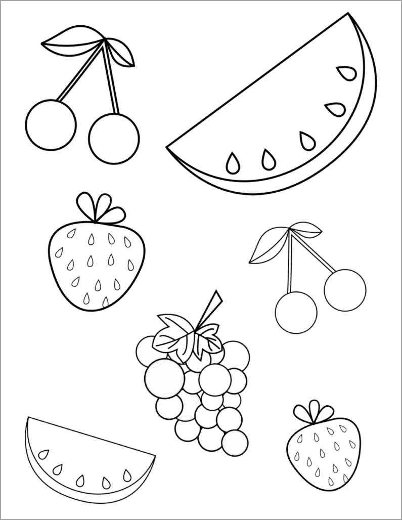 Tranh tô màu hình hoa quả