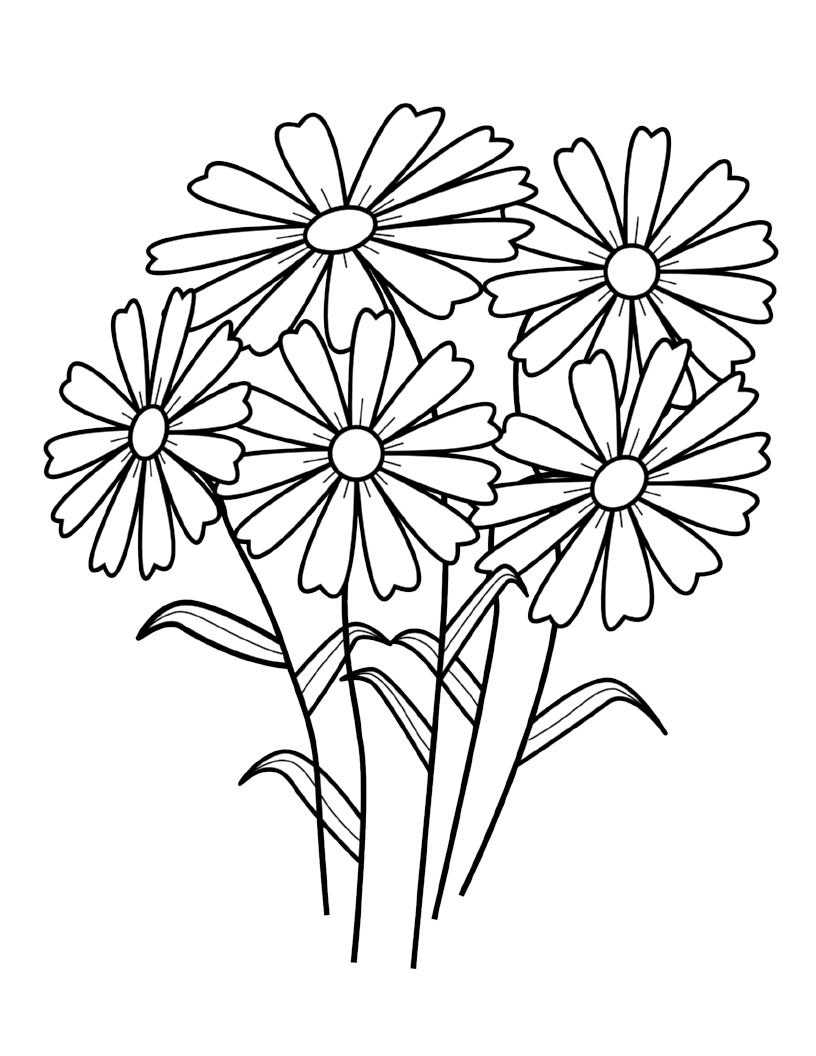 Tranh tô màu hình những bông hoa đẹp nhất
