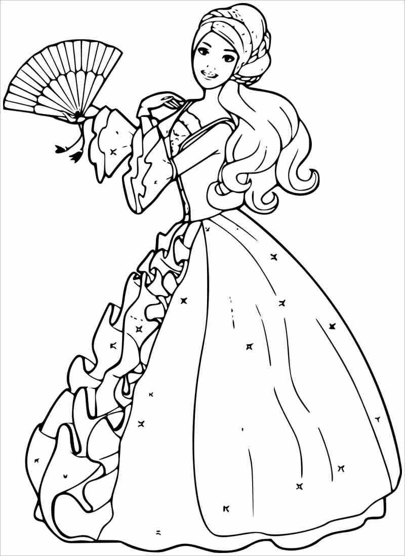 Tranh tô màu hình thủy thủ mặt trăng trong bộ váy công chúa đẹp nhất