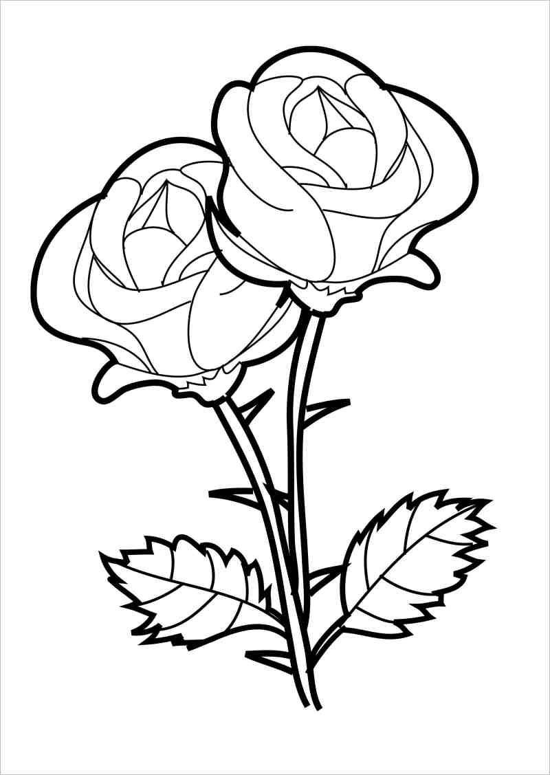 Tranh tô màu hoa hồng đẹp nhất cho bé