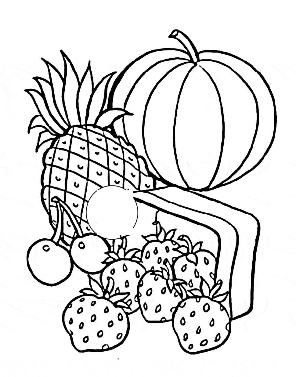 Tranh tô màu hoa quả trái cây
