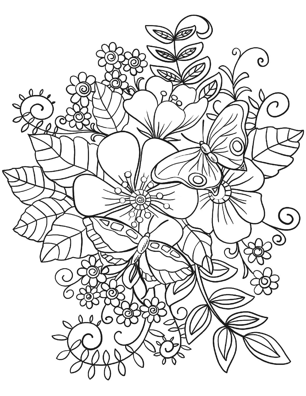 Tranh tô màu hoa và bướm đẹp
