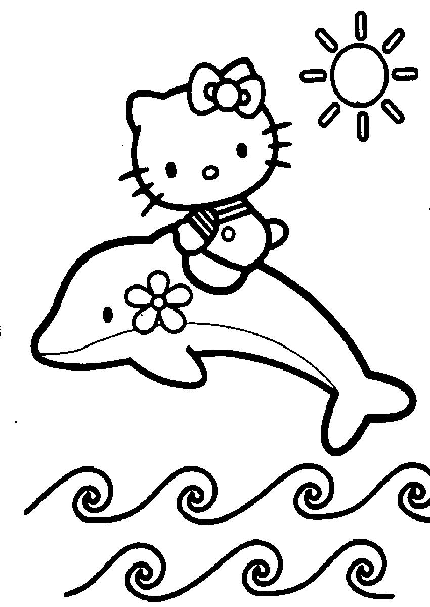 Tranh tô màu mèo Hello Kitty mẫu vẽ đẹp nhất