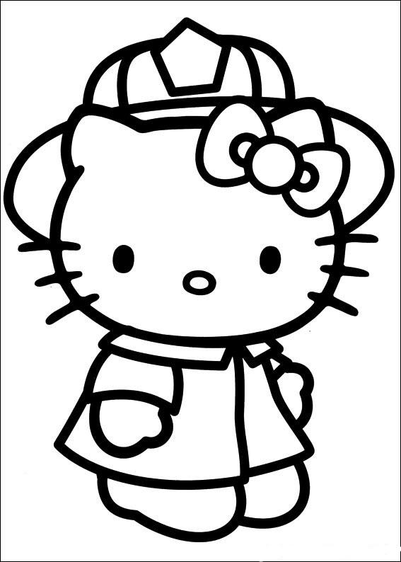 Tranh tô màu mèo Kitty đội mũ đẹp nhất