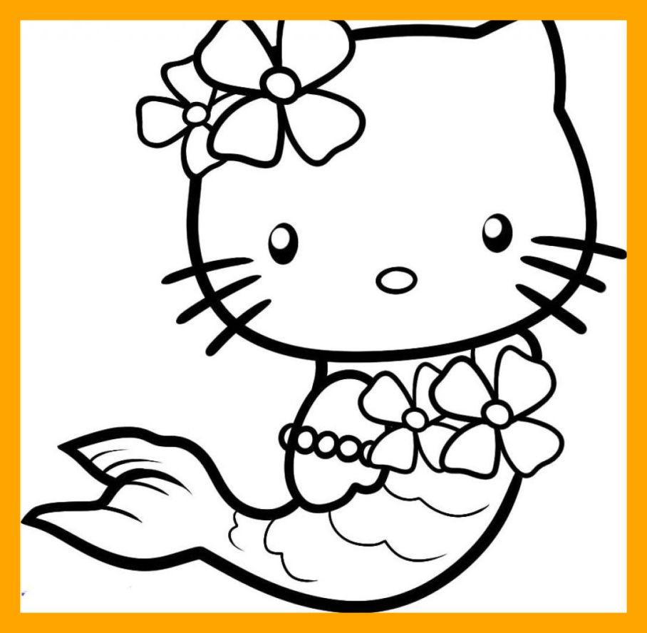 Tranh tô màu nàng tiên cá hello Kitty đẹp nhất