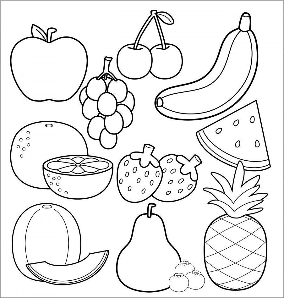 Tranh tô màu trái cây hoa quả cho bé