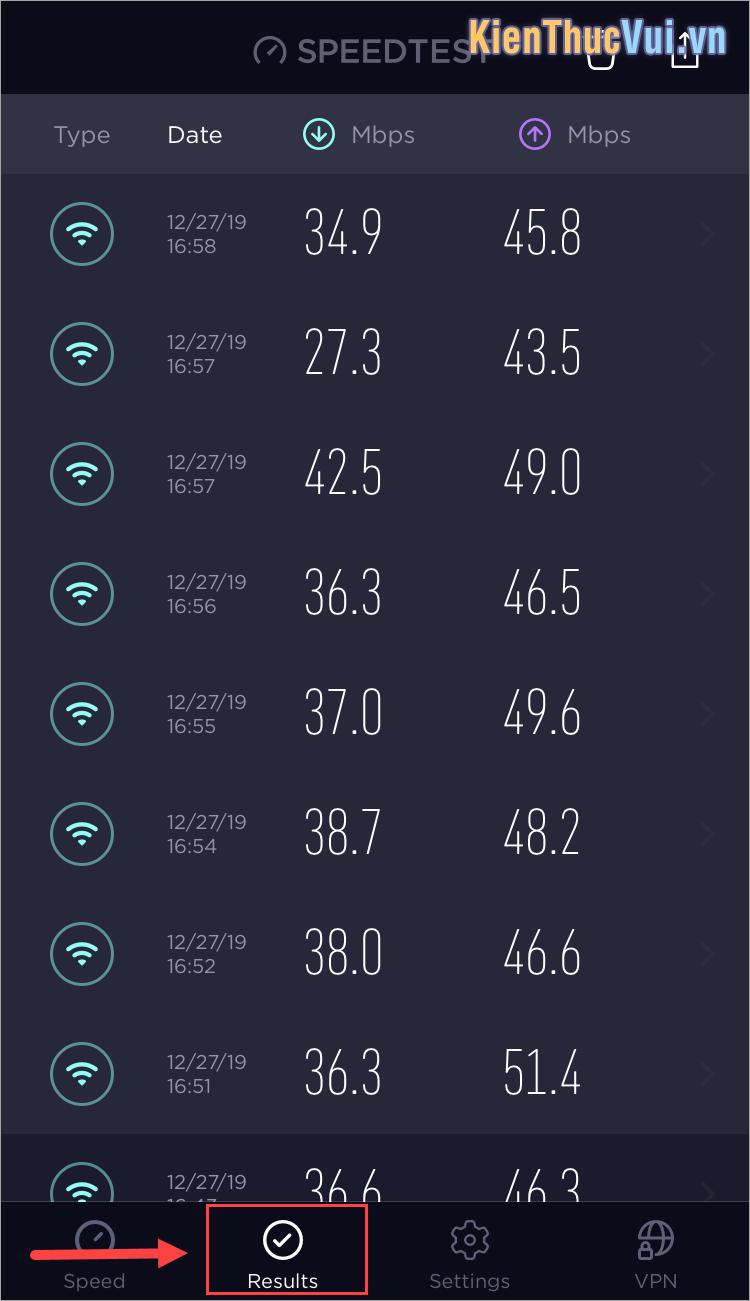 Chọn thẻ Results để xem các kết quả đo tốc độ mạng của mình trước đây