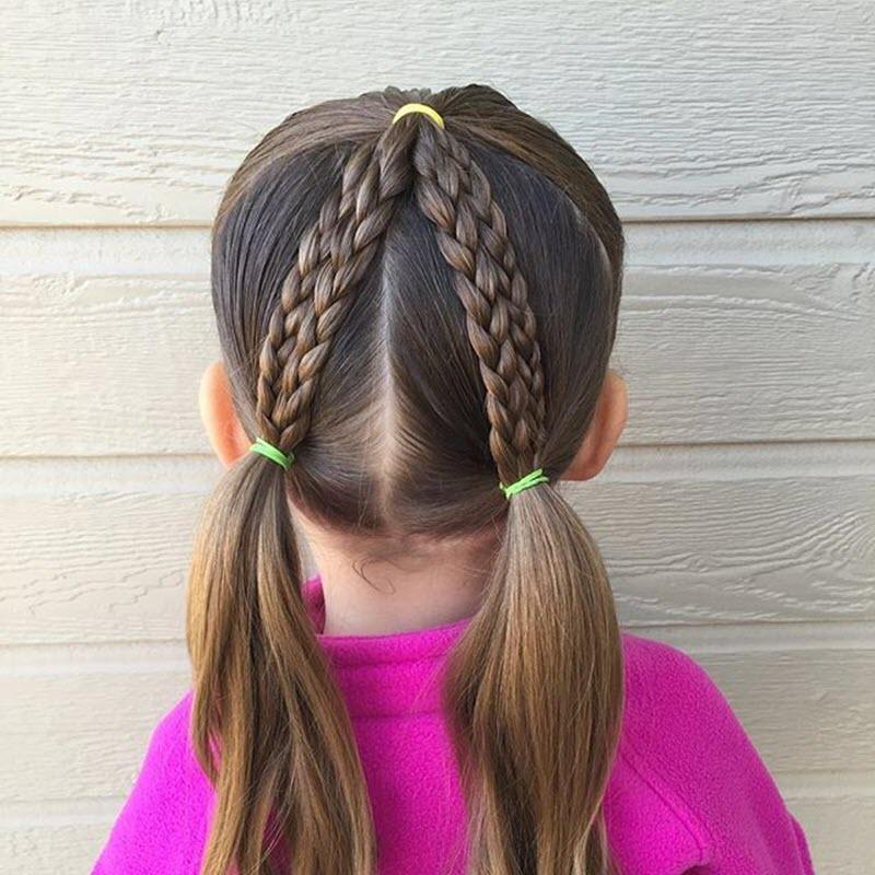 Kiểu buộc tóc đi học cho bé gái
