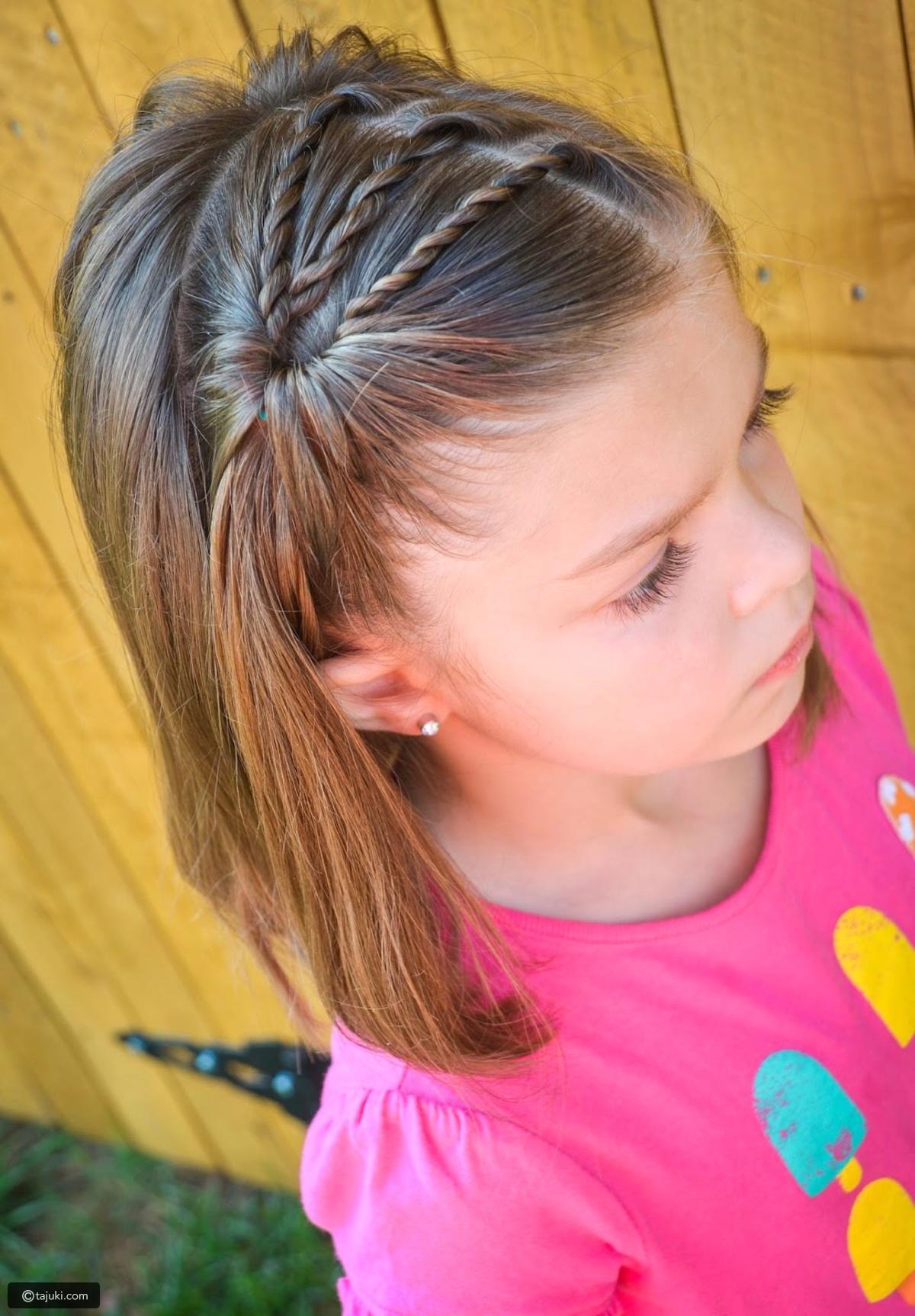 Kiểu buộc tóc mái đẹp cho bé gái