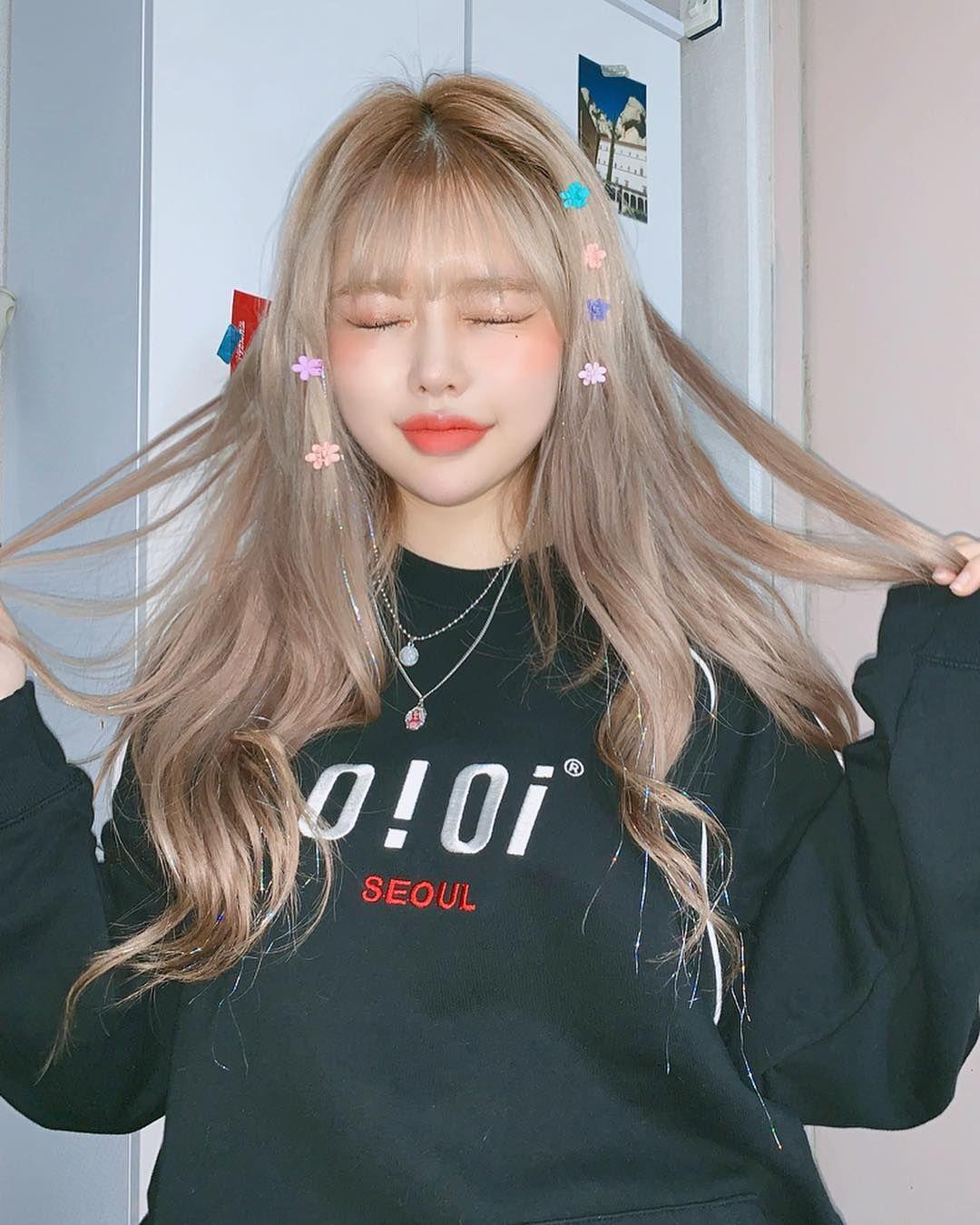 Tóc mái thưa uốn phồng Hàn Quốc dễ thương