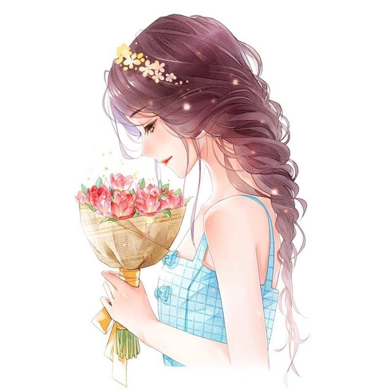 Ảnh đại diện cô gái và hoa