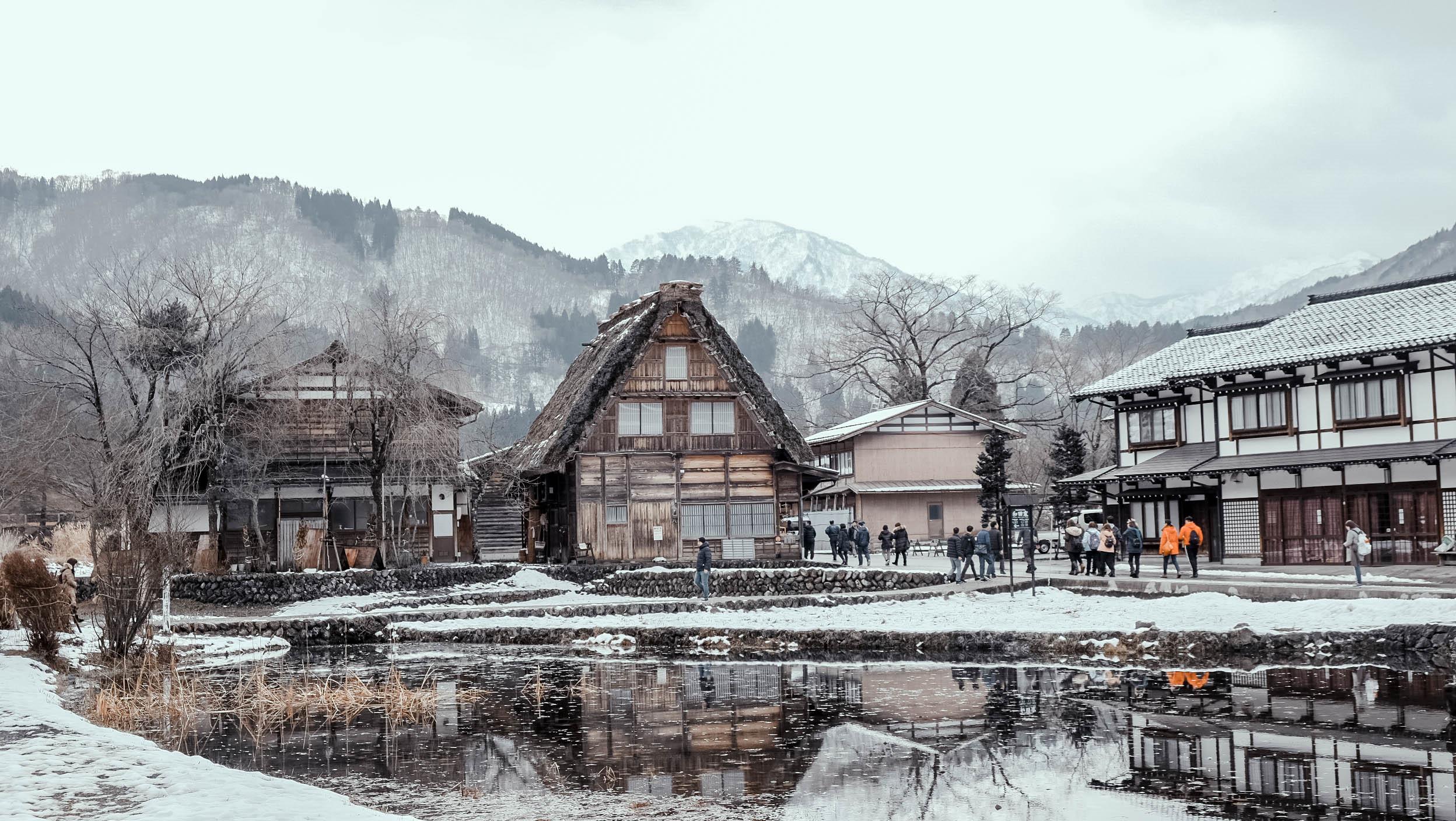 Ảnh làng cổ Shirakawago Nhật Bản mùa đông
