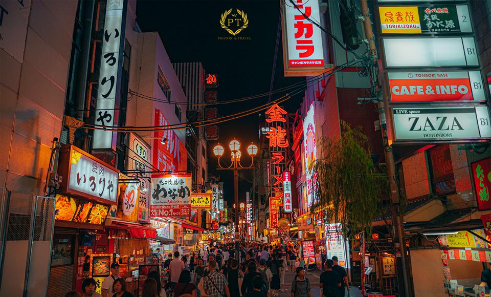 Ảnh phố đêm ở Osaka Nhật Bản