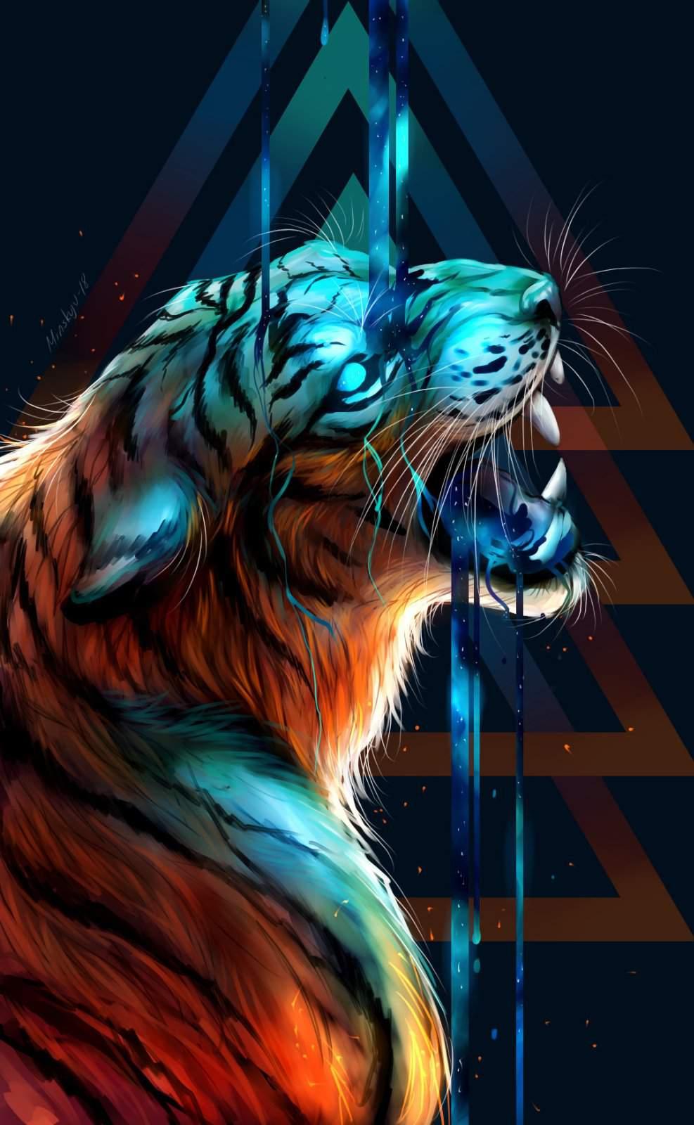 Hình nền con hổ 3D cho điện thoại