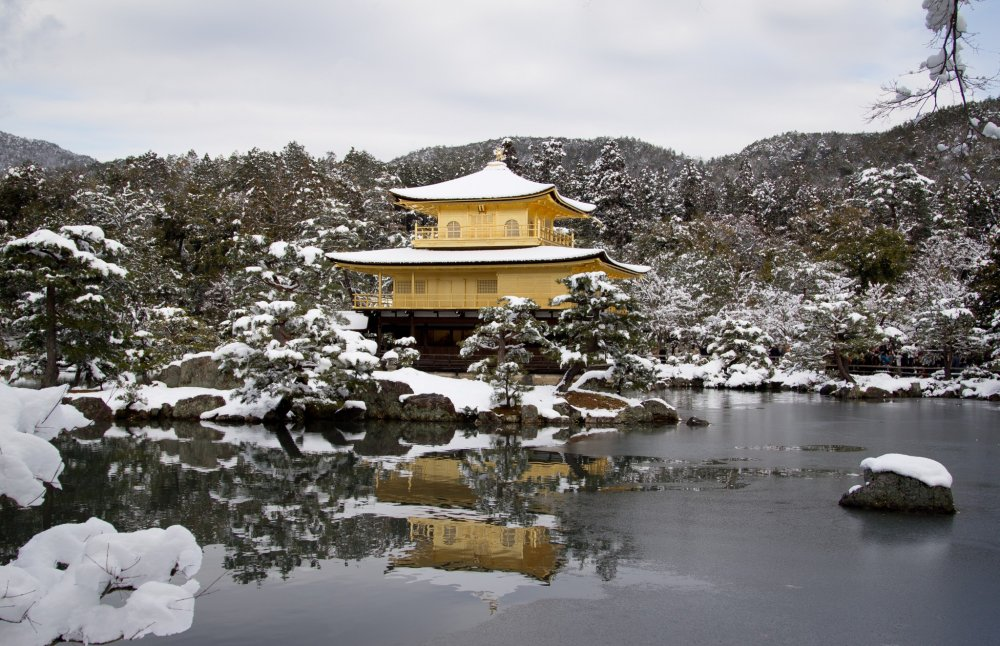 Quang cảnh đền Kinkakuji mùa đông Kyoto Nhật Bản