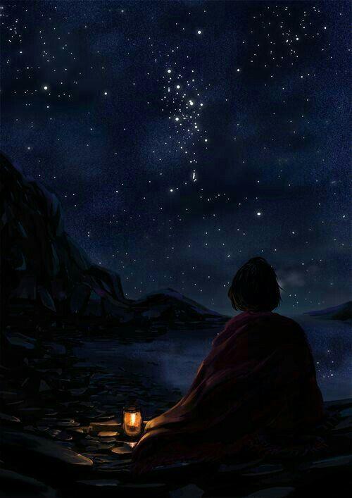 Ảnh anime một mình ngắm trời đêm