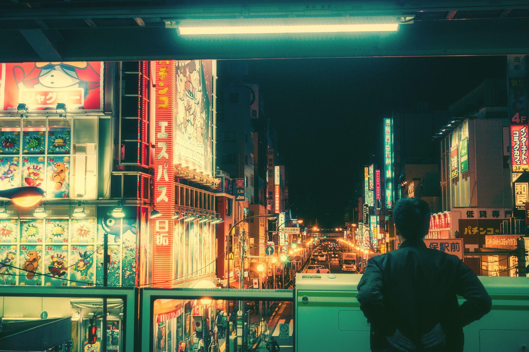 Ảnh ngắm thành phố về đêm một mình