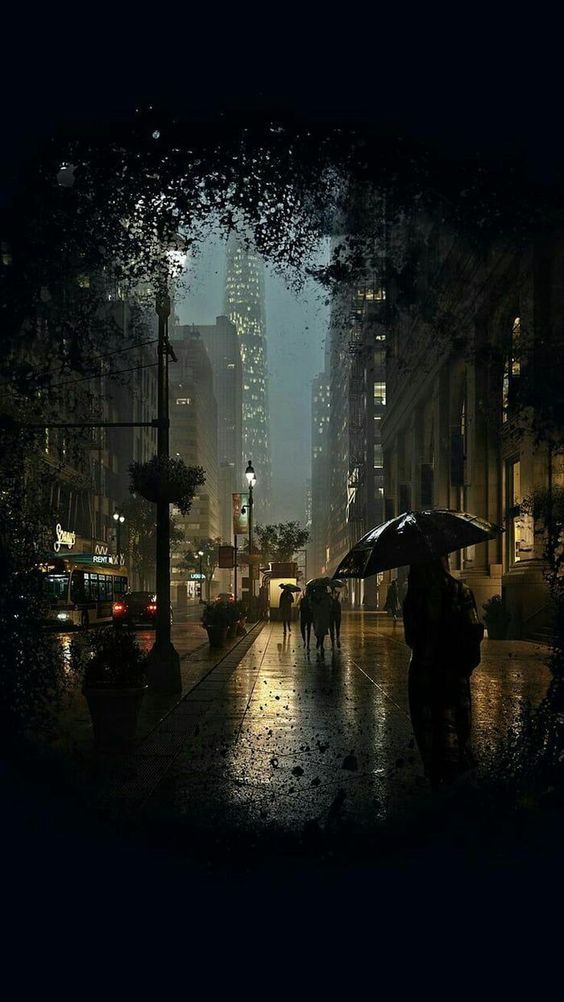 Hình ảnh đêm mưa buồn